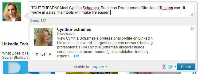 Tout Tuesday LinkedIn Status Update Example